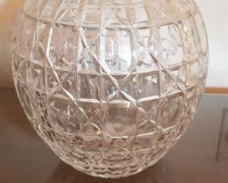 #189 8.5 tall cut glass vase  $  5