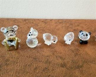#128 little 1 inch tall swarovski crystal bears etc  $50