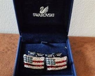 #122 swarovski flag cufflinks   $10