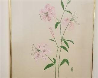 #55  flower  print signed P. Chu 40  x 26. $60