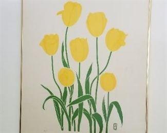 #52    flower  print signed P. Chu  40  x26    $60