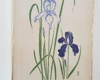 #51   flower  print signed P. Chu   40x26.  $60