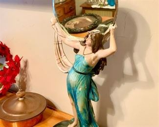 Vintage Chalk Art Statue with Mirror $65
