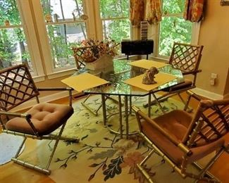 Brass glass table chairs