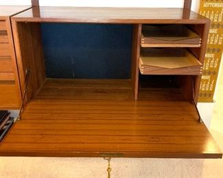 """3rd of 3 sections - Stunning Herman Miller designed by George Nelson Mid Century 3 pc. wall unit  95""""w X 15""""d    $3200.00  - far left side w/flip down door & 2 pull out drawers"""