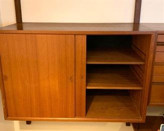 """1st of 3 sections - Stunning Herman Miller designed by George Nelson Mid Century 3 pc. wall unit  95""""w X 15""""d    $3200.00  -  far right side - bottom"""
