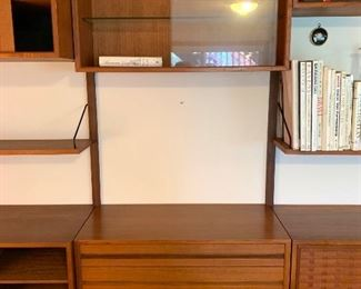 """2nd of 3 sections - Stunning Herman Miller designed by George Nelson Mid Century 3 pc. wall unit  95""""w X 15""""d    $3200.00  -  center w/3 drawers on bottom & glass door on top"""