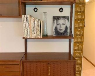 """3rd of 3 sections - Stunning Herman Miller designed by George Nelson Mid Century 3 pc. wall unit  95""""w X 15""""d    $3200.00  - far left side w/flip down door"""