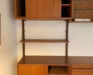 """1st of 3 sections - Stunning Herman Miller designed by George Nelson Mid Century 3 pc. wall unit  95""""w X 15""""d    $3200.00  -  far right side"""