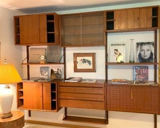 "Stunning Herman Miller designed by George Nelson Mid Century 3 pc. wall unit  95""w X 15""d    $3200.00"