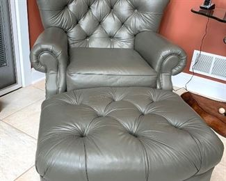 Like New La-Z-Boy Classics gray leather chairs each with an ottoman  $1090. each set