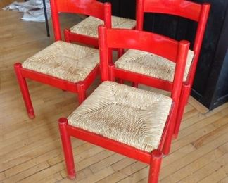 L11  Set of 4 red Scandinavian rush seat side chairs  $65.