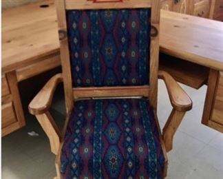 Fabric on seat and back.