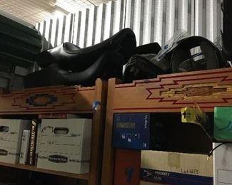 Harley Davidson  seats and helmets.