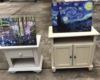 Interkraft nightstand, Riverside TV cabinet, & 2 canvas prints