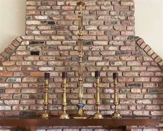 Monumental brass candlestick holders.