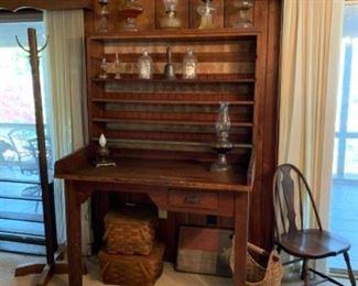 Postal desk from old Seneca post office.  Nice selection of oil lamps.  Hat/coat rack.