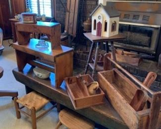 Lots of wooden accessories.  Vintage and antique.