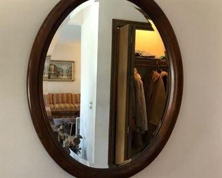"Oval wood framed mirror 26""wide x 31""high - $50"