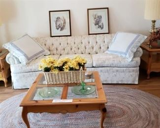 Beaurtiful 8 foot Tufted Sofa Basset Tables, Mid Century Hollywood Regency Lamps