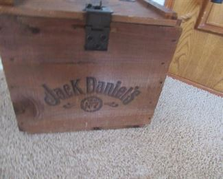 "Small Jack Daniels #7 wood crate with lock Approx sizes:  14"" w x 12"" tall x 9"" depth--Price $50.00"
