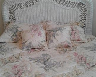 "Queen Bed & headboard PRICE $400.00 -5 piece set includes: headboard approx 60"" wide, Nightstands 17""x 24"", chair 36""tall, Small 3 drawer chest 17"" depth x 28"" wide x 29"" tall, Mirro 20"" x 28"", Lamp 26"" tall- PLUS! 2 wall candle holders,  mattress & box springs in Good condiiton, Bedspread, pillows"