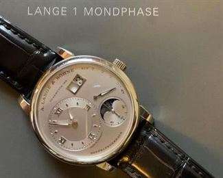 Lange 1 Moonphase in Platinum. Find the FULL LISTING, Prices and MAKE AN OFFER, on our website, www.huntestatesales.com