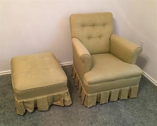 Upolhostred boudoir chair and matching ottoman.  Fern green color.  Both in good condition.