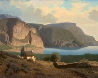 19thc. German School, View of lake Garda