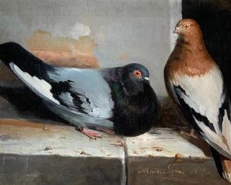 Marz. Sofra (Italian, 19thc.) Two Pigeons on a Ledge, 1879
