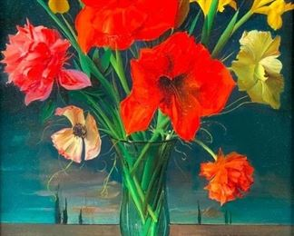 Enrico Del Bono (Italian 1915-2006) Still Life of Flowers in Vase with Surreal Landscape