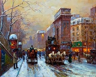 In the Style of Edouard Leon Cortes (French 1882-1969) Porte St. Denis with Snowfall, Paris