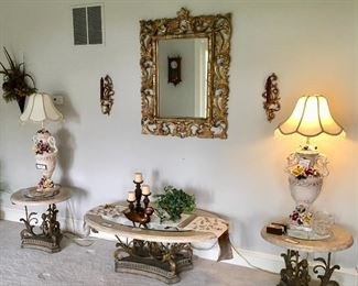 Pair of Beautiful Vintage Capodimonte Lamps and Excellent Coffee and end tables.
