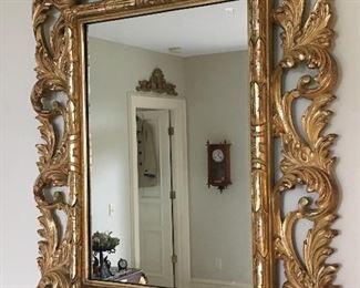 Heavy Gold Gilt Ornate Resin Mirror.