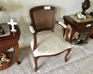 Quality wood and fabric arm chair.
