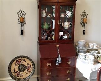Super nice Cherry wood Cabinet Secretary with wavy front drawers.