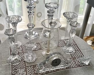 Nice Crystal Candle Holders & Glass Clock.