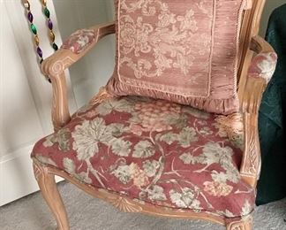Very Nice Floral Wood Arm Chair
