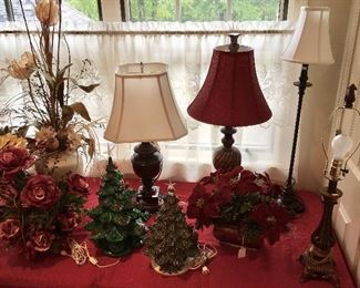 Nice vintage Ceramic Christmas Lighted trees, and assortment of Lamps.