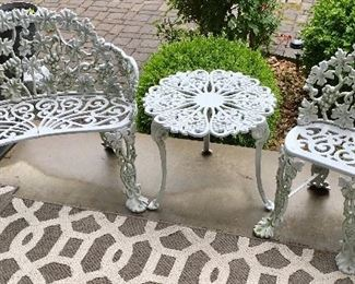 Super High End Quality Vintage Cast Aluminum Bench, chair, and table, sold as set.