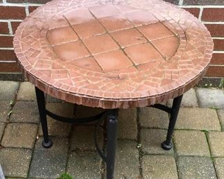 Mosaic short outdoor end table.