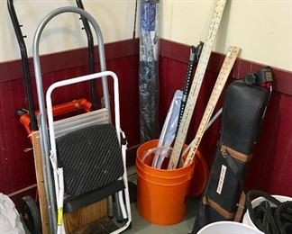 Step stools, Handcart, and more garage tool items.
