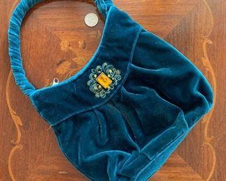 Lot B1 - Velvet purse with stone, $12