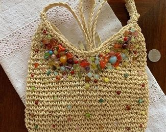 Lot B2 - Straw Purse With Beads, $12