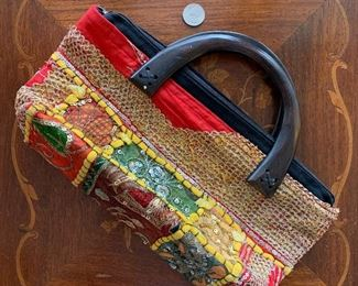 Lot B4 - Colorful Clutch With Wooden Handle, $15