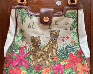 Lot B6 - Leopard Handbag, $8