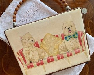 Lot B7 - Westie Purse With Beaded Handle, $15