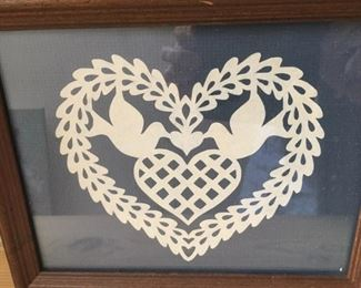"#15   Framed 5 1/2"" x 6 1/2"" cut paper art heart, $34"