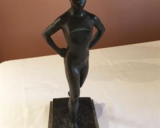 "#1  Bernhard Sopher (1879-1949) bronze, 14 1 /2"",  stone base cracked  $600"