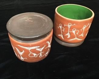 "#10  Pair of vintage 5"" Leopoldo of Mexico ceramics  $19"